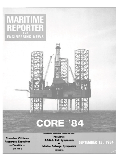 Cover of September 15, 1984 issue of Maritime Reporter and Engineering News Magazine