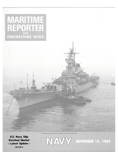 Cover of November 15, 1984 issue of Maritime Reporter and Engineering News Magazine