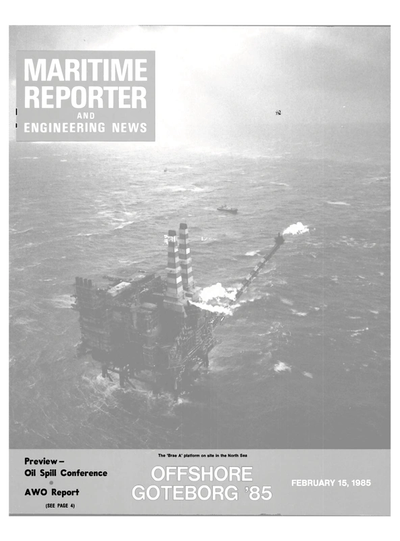 Cover of February 15, 1985 issue of Maritime Reporter and Engineering News Magazine