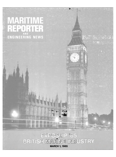 Cover of March 1985 issue of Maritime Reporter and Engineering News Magazine
