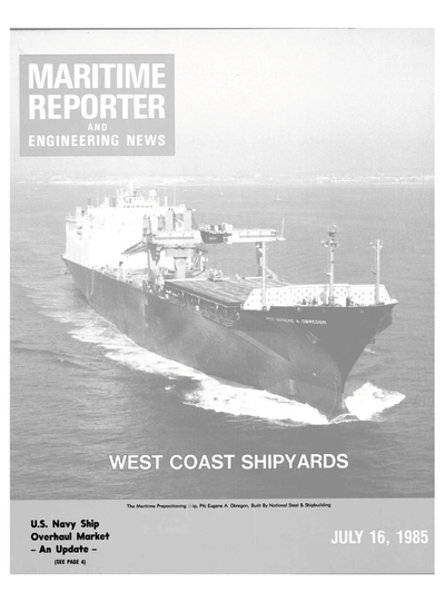 Cover of July 15, 1985 issue of Maritime Reporter and Engineering News Magazine