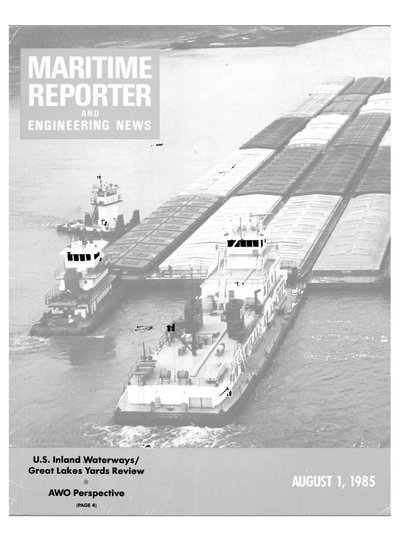 Cover of August 1985 issue of Maritime Reporter and Engineering News Magazine