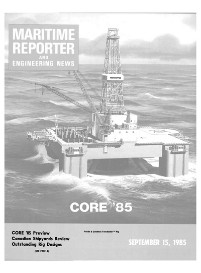 Cover of September 15, 1985 issue of Maritime Reporter and Engineering News Magazine