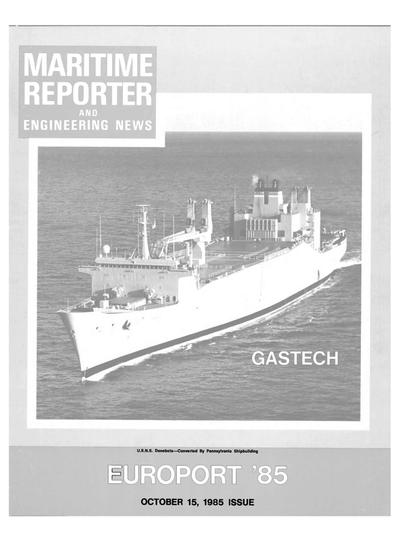 Cover of October 15, 1985 issue of Maritime Reporter and Engineering News Magazine
