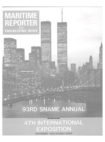 Cover of November 1985 issue of Maritime Reporter and Engineering News Magazine
