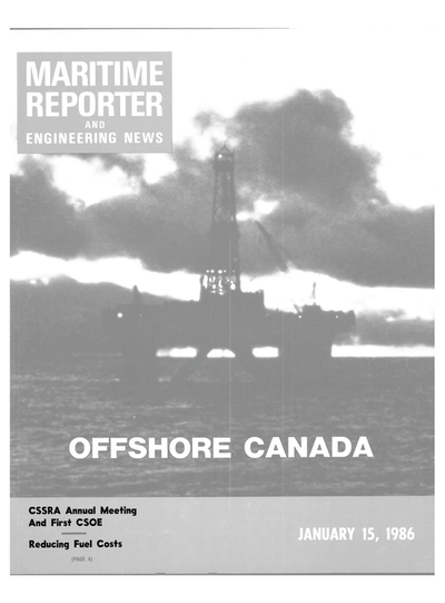 Cover of January 15, 1986 issue of Maritime Reporter and Engineering News Magazine