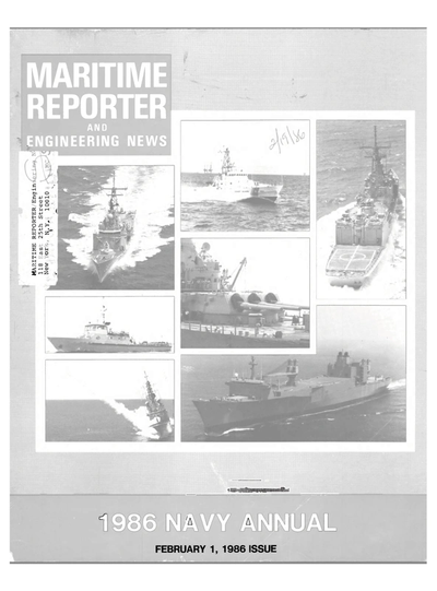 Cover of February 1986 issue of Maritime Reporter and Engineering News Magazine