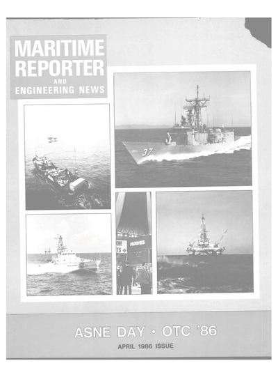 Cover of April 1986 issue of Maritime Reporter and Engineering News Magazine