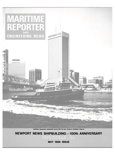 Cover of May 1986 issue of Maritime Reporter and Engineering News Magazine