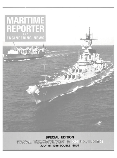 Cover of July 15, 1986 issue of Maritime Reporter and Engineering News Magazine