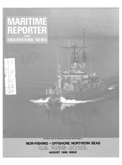 Cover of August 1986 issue of Maritime Reporter and Engineering News Magazine