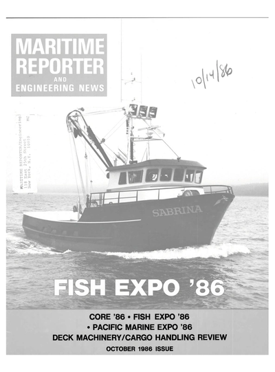 Cover of October 1986 issue of Maritime Reporter and Engineering News Magazine