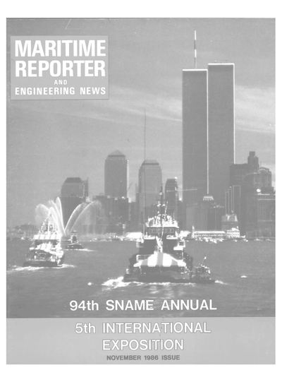Cover of November 1986 issue of Maritime Reporter and Engineering News Magazine