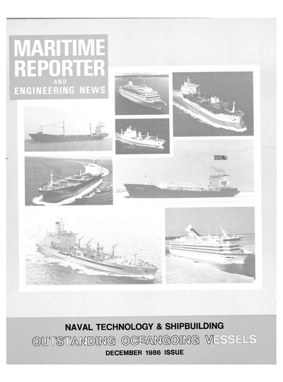 Cover of December 1986 issue of Maritime Reporter and Engineering News Magazine