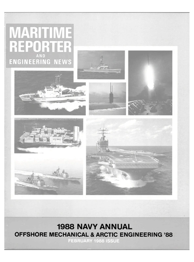 Cover of February 1988 issue of Maritime Reporter and Engineering News Magazine