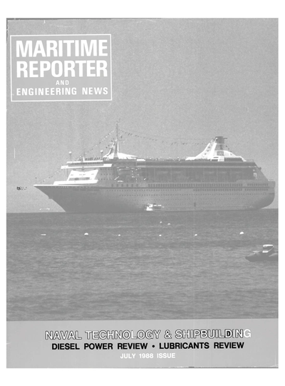 Cover of July 1988 issue of Maritime Reporter and Engineering News Magazine