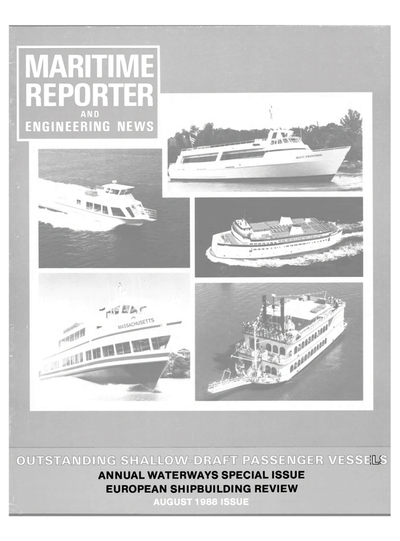 Cover of August 1988 issue of Maritime Reporter and Engineering News Magazine
