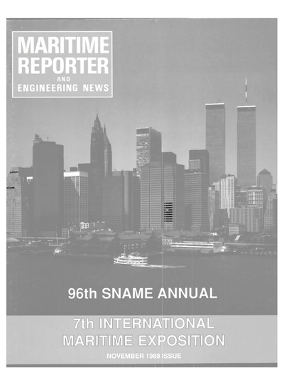Cover of November 1988 issue of Maritime Reporter and Engineering News Magazine