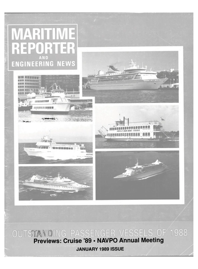 Cover of January 1989 issue of Maritime Reporter and Engineering News Magazine
