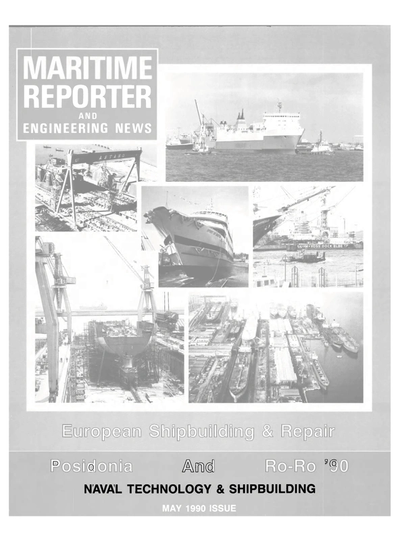 Cover of May 1990 issue of Maritime Reporter and Engineering News Magazine