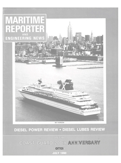 Cover of July 1990 issue of Maritime Reporter and Engineering News Magazine