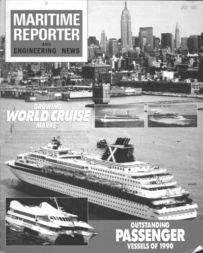 Cover of January 1991 issue of Maritime Reporter and Engineering News Magazine