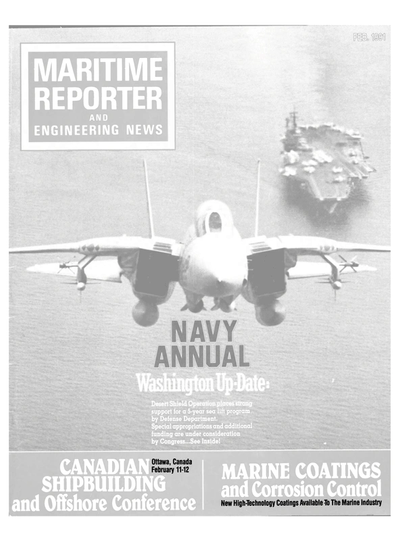 Cover of February 1991 issue of Maritime Reporter and Engineering News Magazine