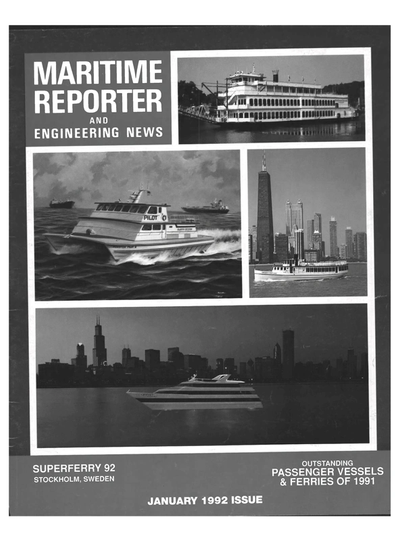 Cover of January 1992 issue of Maritime Reporter and Engineering News Magazine