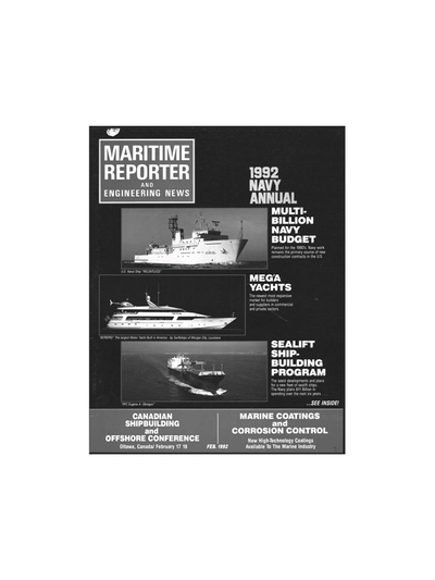 Cover of February 1992 issue of Maritime Reporter and Engineering News Magazine