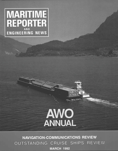 Cover of March 1992 issue of Maritime Reporter and Engineering News Magazine