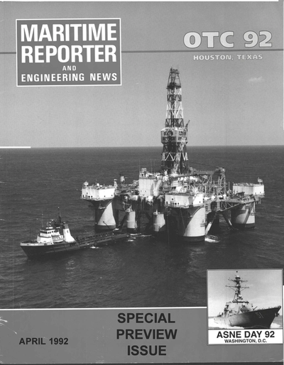 Cover of April 1992 issue of Maritime Reporter and Engineering News Magazine