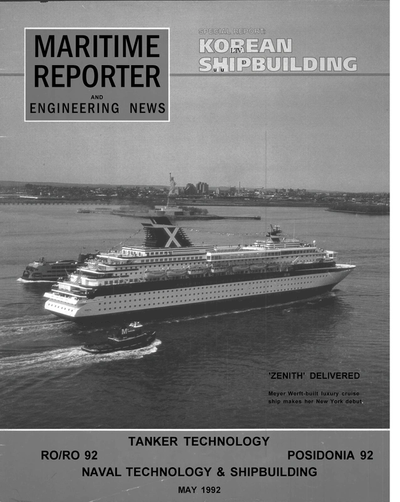 Cover of May 1992 issue of Maritime Reporter and Engineering News Magazine