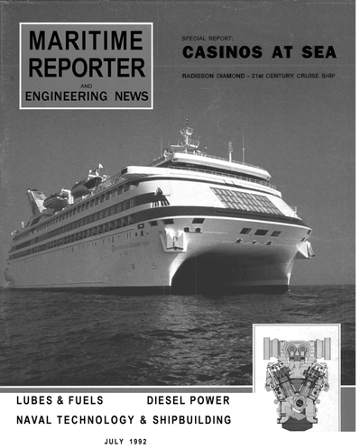 Cover of July 1992 issue of Maritime Reporter and Engineering News Magazine