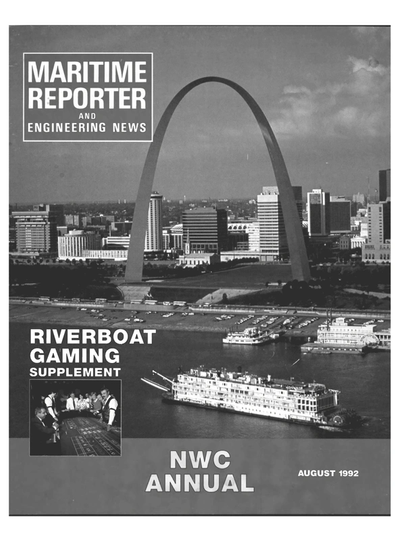 Cover of August 1992 issue of Maritime Reporter and Engineering News Magazine