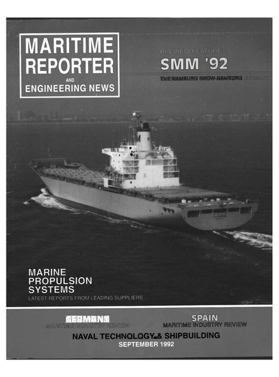 Cover of September 1992 issue of Maritime Reporter and Engineering News Magazine