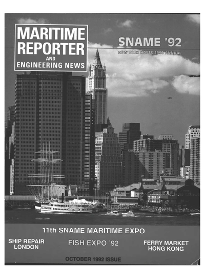 Cover of October 1992 issue of Maritime Reporter and Engineering News Magazine