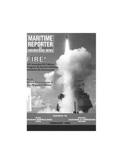 Cover of February 1993 issue of Maritime Reporter and Engineering News Magazine