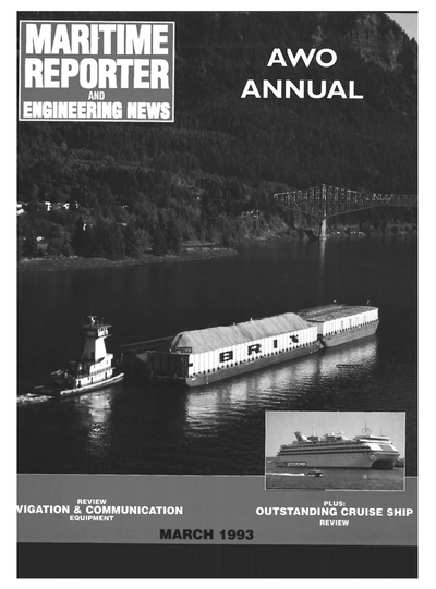 Cover of March 1993 issue of Maritime Reporter and Engineering News Magazine