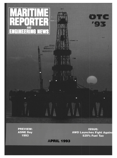 Cover of April 1993 issue of Maritime Reporter and Engineering News Magazine