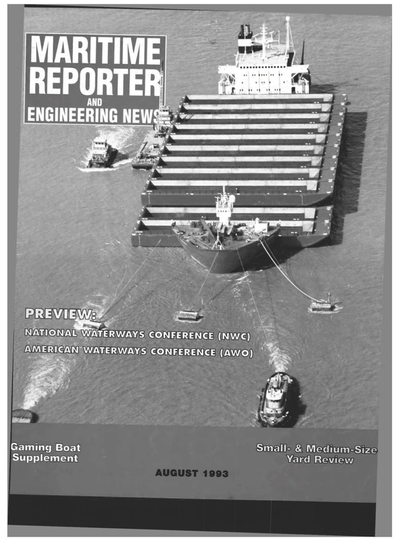 Cover of August 1993 issue of Maritime Reporter and Engineering News Magazine