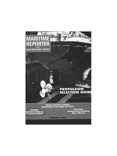 Cover of February 1994 issue of Maritime Reporter and Engineering News Magazine