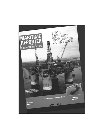 Cover of April 1994 issue of Maritime Reporter and Engineering News Magazine