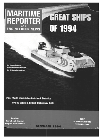 Cover of December 1994 issue of Maritime Reporter and Engineering News Magazine