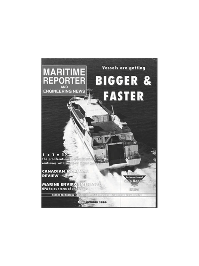 Cover of October 1996 issue of Maritime Reporter and Engineering News Magazine