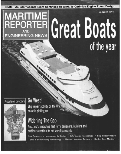 Cover of January 1998 issue of Maritime Reporter and Engineering News Magazine
