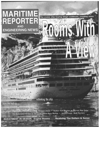 Cover of February 1998 issue of Maritime Reporter and Engineering News Magazine