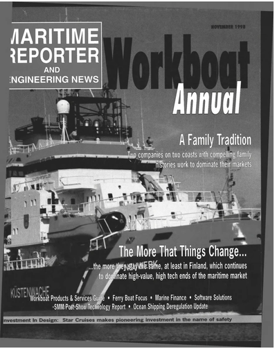Cover of November 1998 issue of Maritime Reporter and Engineering News Magazine