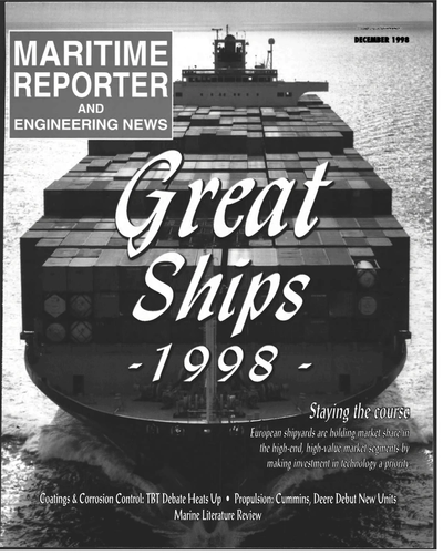 Cover of December 1998 issue of Maritime Reporter and Engineering News Magazine
