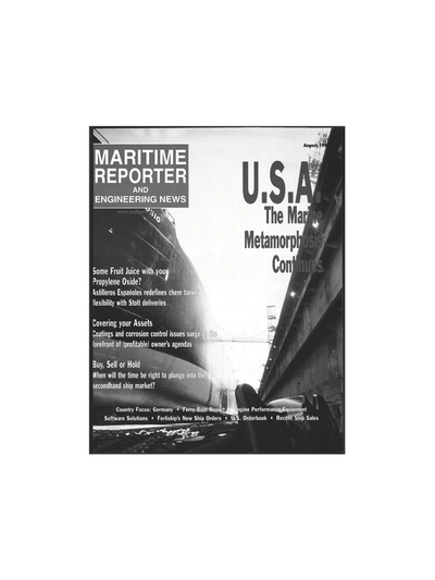 Cover of August 1999 issue of Maritime Reporter and Engineering News Magazine