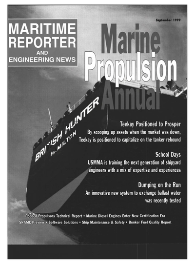 Cover of September 1999 issue of Maritime Reporter and Engineering News Magazine
